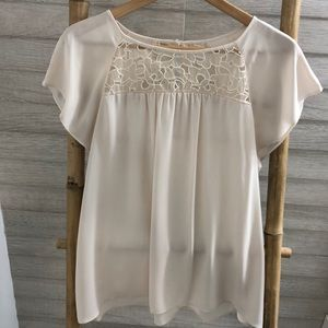 Anthropologie Embroidered Creme Blouse
